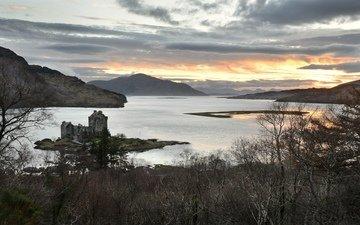 озеро, горы, замок, шотландия, йленонан