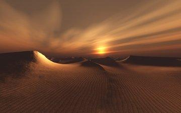 восход, закат, песок, дюны