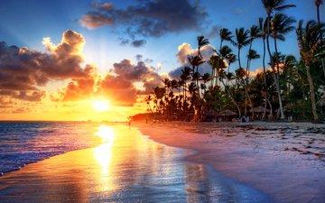 закат, море, пляж, тропики