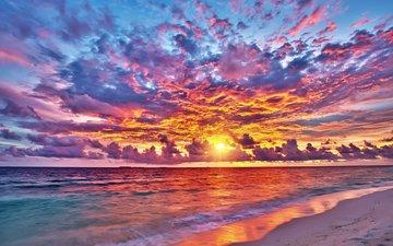 закат, море, пляж