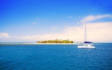 sea, beach, yacht, island, tropics