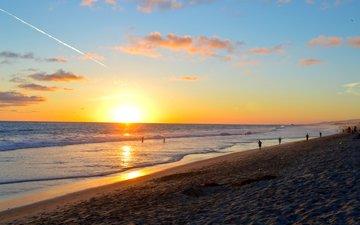 sunset, sea, beach, 3