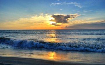 sunset, sea, beach, 4