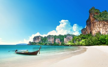 sea, beach, boat, thailand, tropics, 11