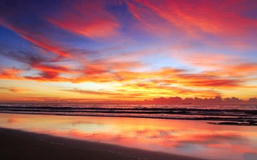sunset, sea, beach
