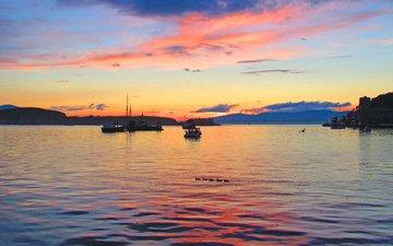 sunset, sea, boats