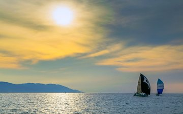 sunset, sea, yachts