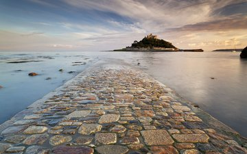 rocks, landscape, sea, england, the monastery, cornwall, st. michael's mount