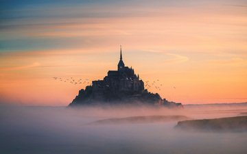 landscape, fog, castle, birds, france, mont-saint-michel