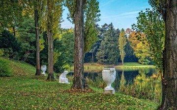 trees, nature, park, pond, sculpture