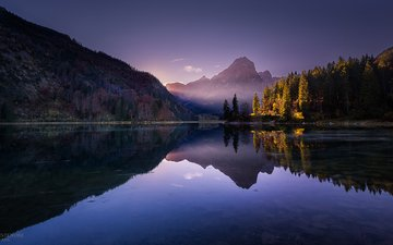 the sky, trees, lake, mountains, nature, forest, reflection, autumn, fabio antenore