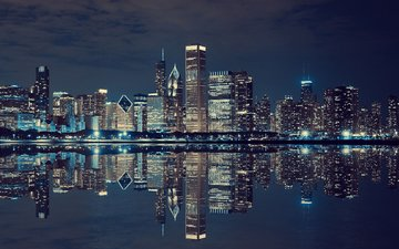 night, lights, reflection, the city, usa, new york