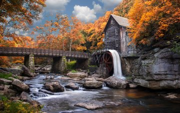 the sky, clouds, trees, river, nature, forest, bridge, waterfall, autumn, mill, babcock state park, kenneth lee toney sr