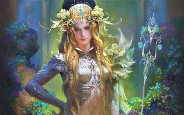 flowers, art, look, hair, staff, elf, fantasy