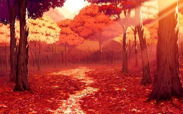 art, trees, leaves, landscape, park, autumn, path, painting