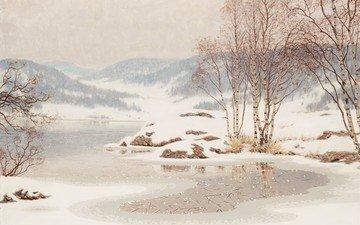 art, river, mountains, snow, winter, birch, gustaf fjaestad