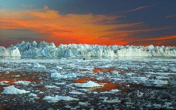 небо, пейзаж, море, лёд, айсберг, океан, зарево, льды, гренландия, ледниковый фьорд илулиссат