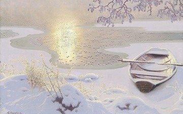 art, lake, winter, landscape, boat, gustaf fjaestad