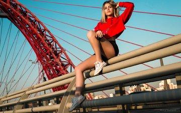 girl, blonde, look, sneakers, model, legs, hair, face
