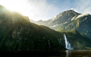 mountains, nature, waterfall, new zealand, south island, milford sound, simon thomas