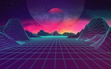 неон, вектор, ретро, волна, графика, пространство, симметрия, цифровое искусство, графика.вектор