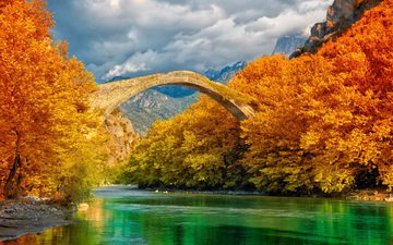 clouds, trees, river, mountains, nature, forest, bridge, autumn