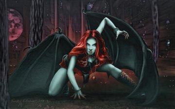 арт, девушка, фэнтези, монстр, тьма, вампир, властелин колец, оборотень, летучая мышь, дьяволица, посланница саурона, джон рональд руэл толкин, тхурингветиль, средиземье, каукарэльдэ