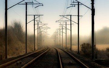 railroad, rails, landscape, fog, the city, power lines