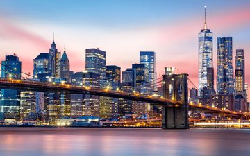 night, lights, bridge, the city, usa, new york
