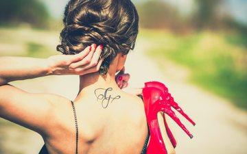 girl, brunette, back, hair, shoes, bare shoulders