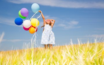the sky, field, girl, child, balloons