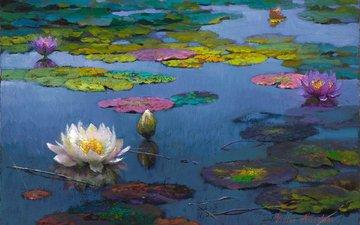 цветы, арт, пейзаж, пруд, живопись, лотосы