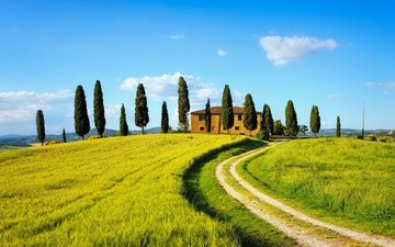 the sky, road, clouds, hills, nature, italy, farm, tuscany, cypress
