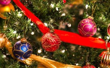 new year, tree, balls, decoration, christmas