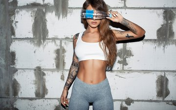 девушка, модель, татуировки, фигура, шатенка
