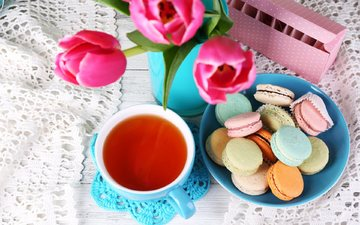 flowers, bouquet, tulips, tea, napkin, cookies, cakes, macaroon