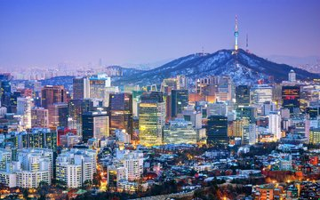 night, lights, the city, megapolis, seoul, south korea