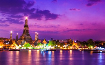 night, lights, temple, the city, thailand, bangkok, pigphoto, wat arun temple