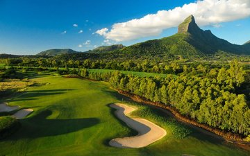 the sky, clouds, trees, mountains, nature, forest, field, lawn, golf