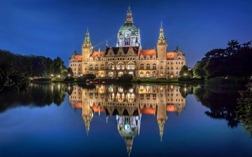 night, lights, reflection, palace, germany, hanover