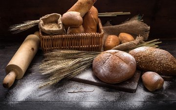 ears, bread, wheat, cakes, basket, grain, buns, flour, rolling pin