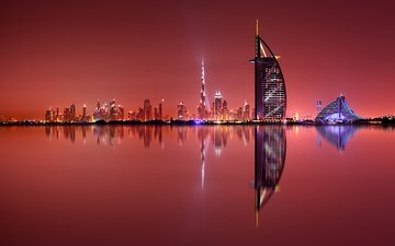 night, lights, reflection, the city, dubai, uae