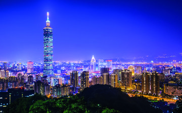 night, lights, the city, taipei, taiwan
