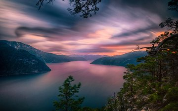 the sky, clouds, water, lake, mountains, nature, sunset, norway, the fjord, jørn allan pedersen, the sognefjord