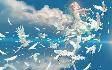 the sky, clouds, girl, anime, birds