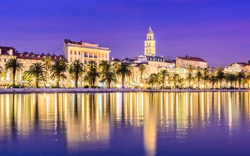 night, lights, reflection, the city, palm trees, croatia, split