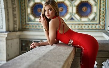 girl, dress, blonde, look, the room, makeup, figure, in red, the parapet