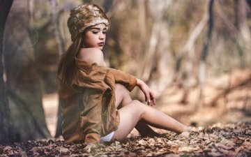 trees, leaves, girl, park, pose, autumn, glare, sitting, legs, hat, makeup, jacket, brown hair, bokeh, valeria, luis gastón