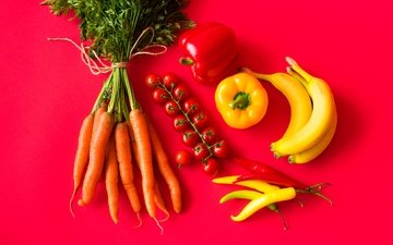 fruit, vegetables, red background, tomatoes, carrots, bananas, pepper