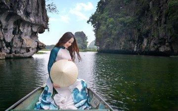 скалы, природа, девушка, платье, улыбка, лодка, модель, волосы, азиатка